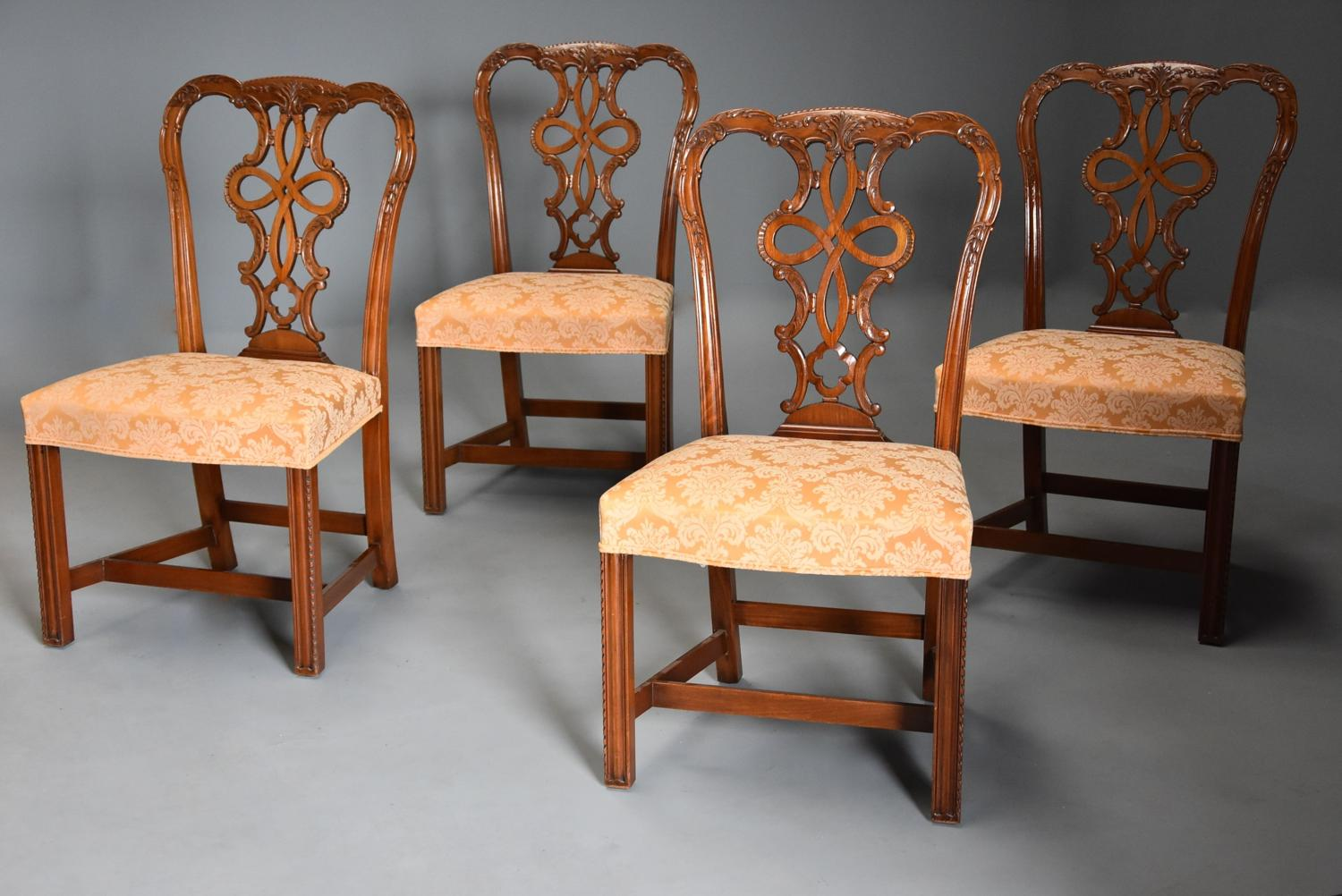 Set of four fine quality early 20thc mahogany Chippendale style chairs