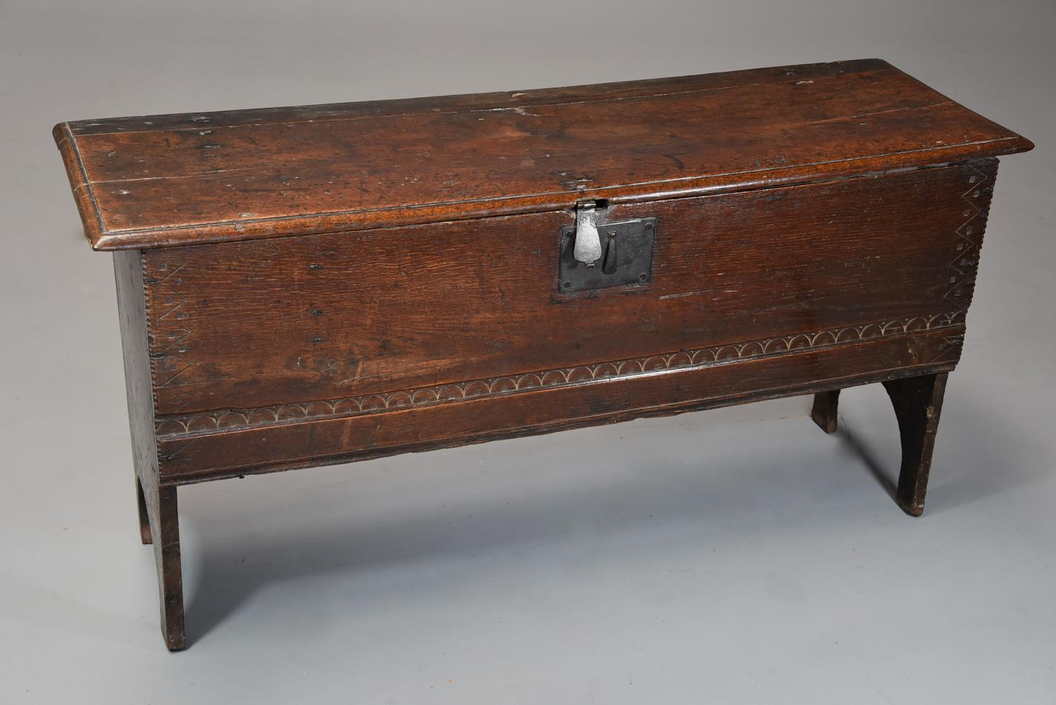 17thc oak six plank coffer with excellent patina & narrow proportions