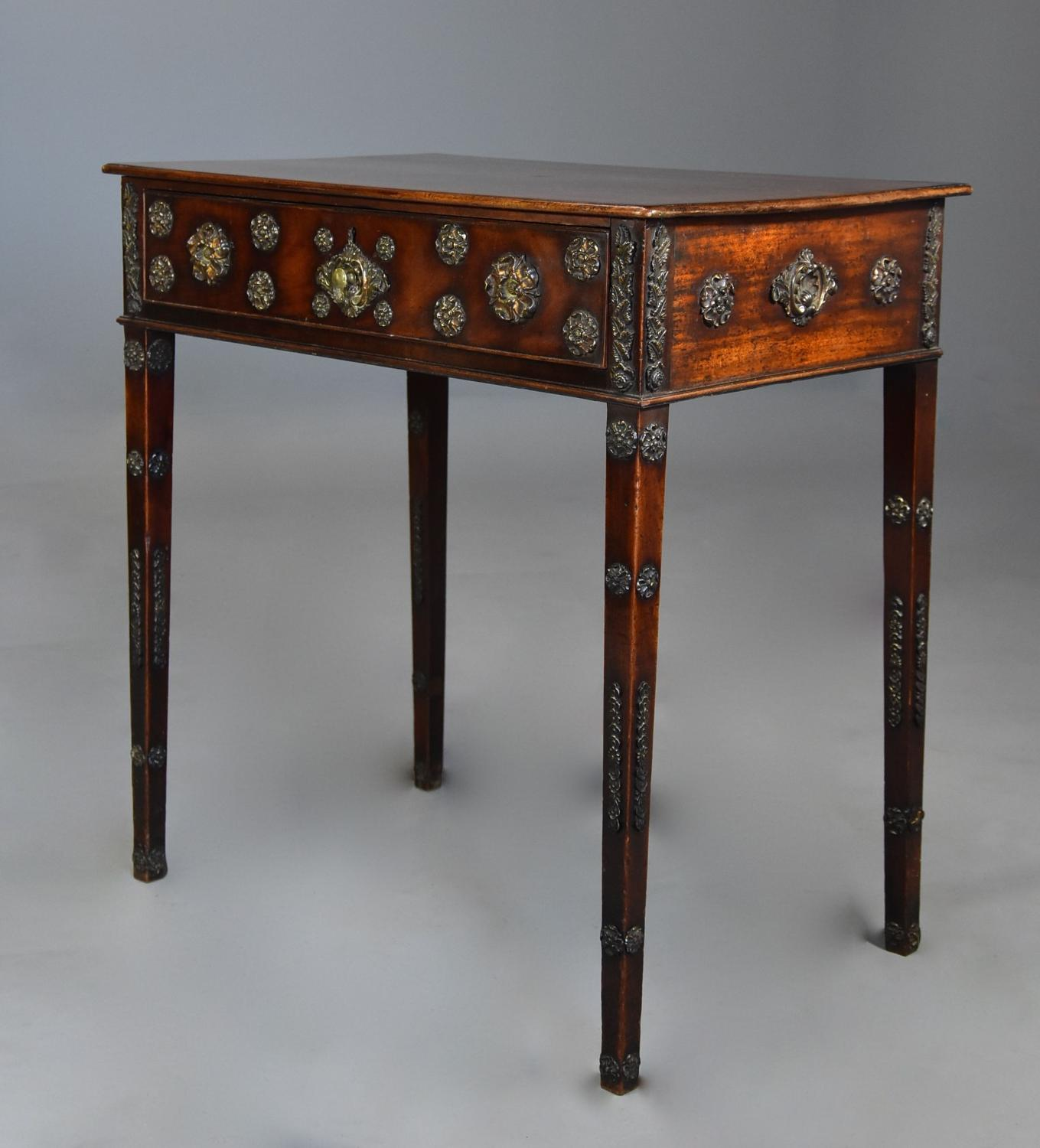Highly decorative late 18thc mahogany table with brass decoration