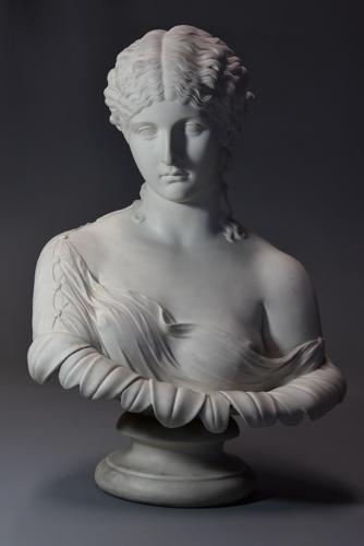 Highly decorative large mid 19thc Copeland Parian bust of 'Clytie'