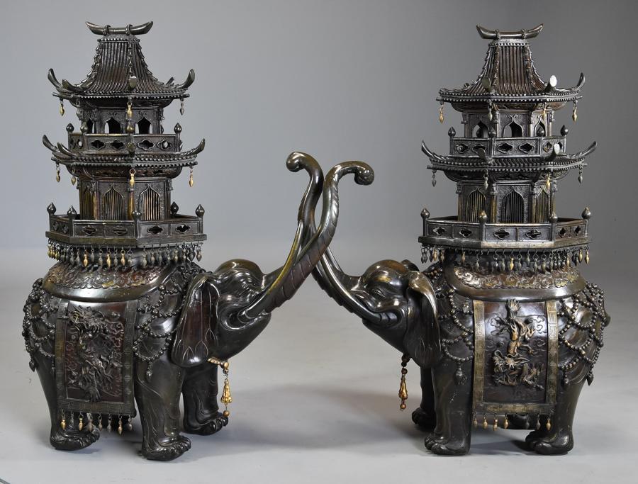 Large pair of superb 19thc bronze Japanese elephant incense burners