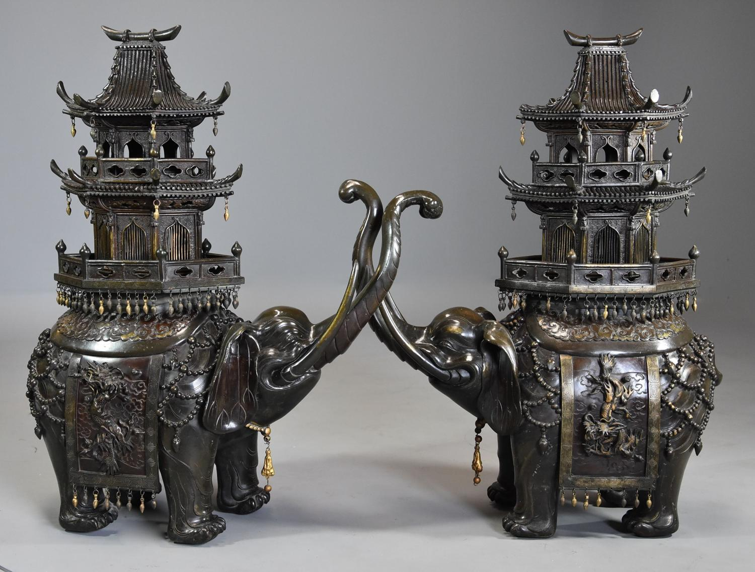 Large pair of superb 19thc bronze Japanese elephant incense burners