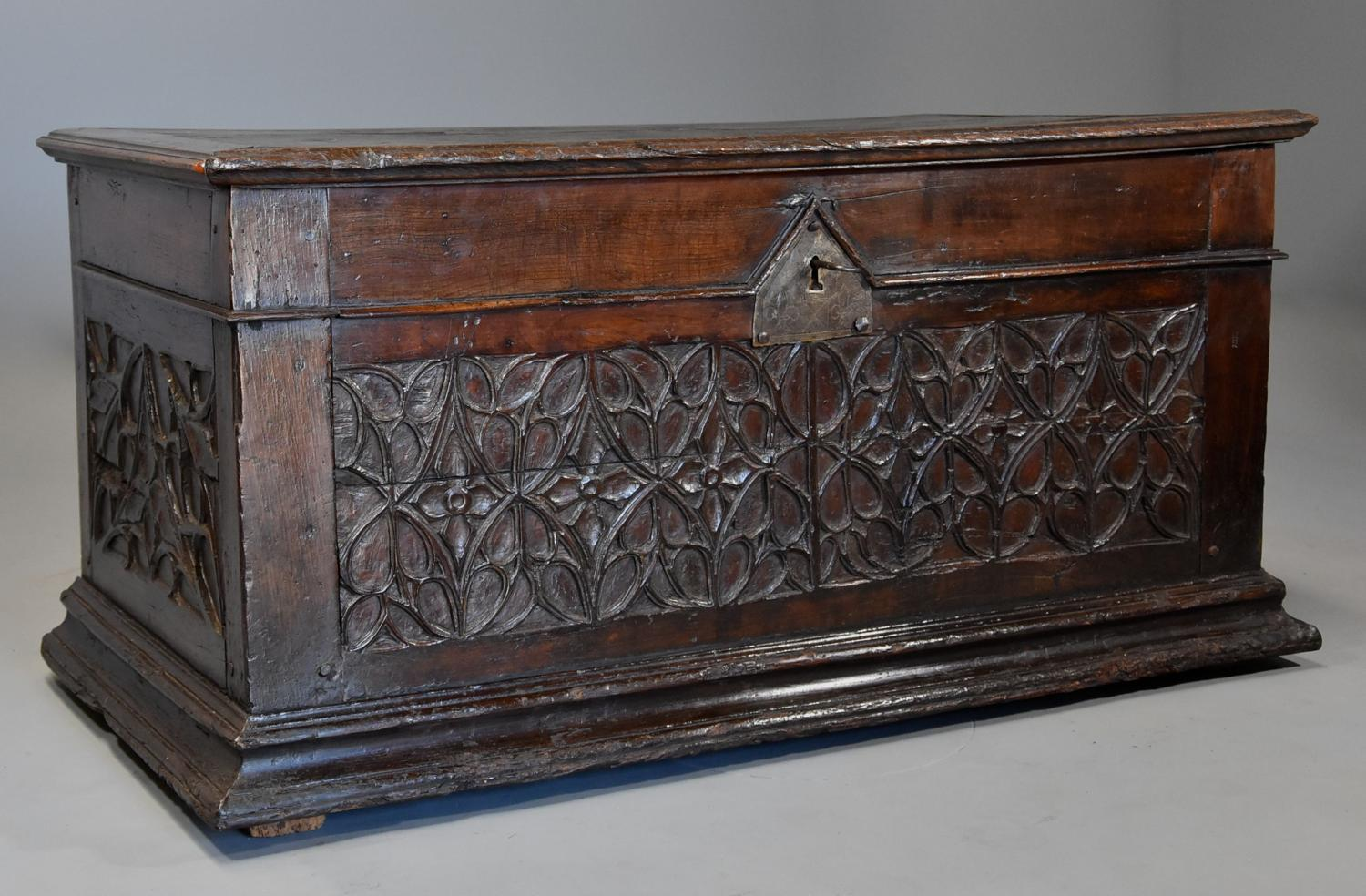 Extremely rare French early 16thc fruitwood coffer of superb patina