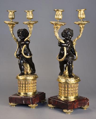 Pair of fine quality French 19thc ormolu & bronze candelabra