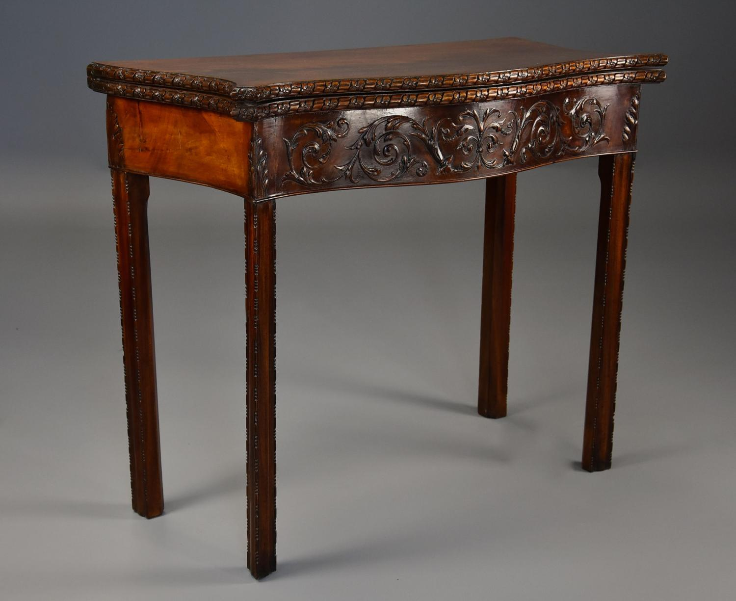Late 19thc Chippendale style mahogany serpentine shaped card table