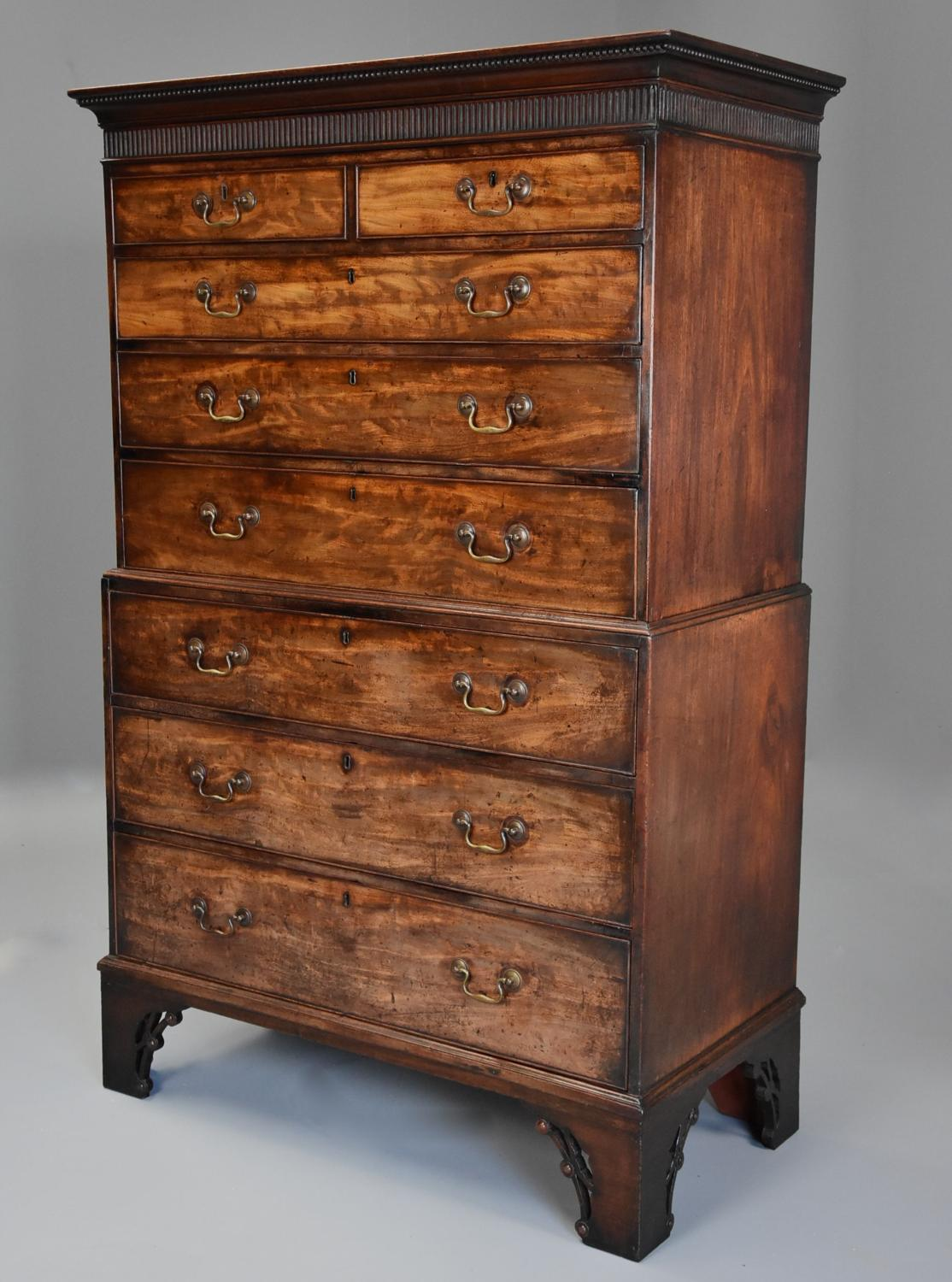 18thc mahogany chest on chest with unusual features and fine patina