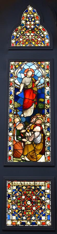 Stunning large-scale 19thc & earlier stained glass triptych