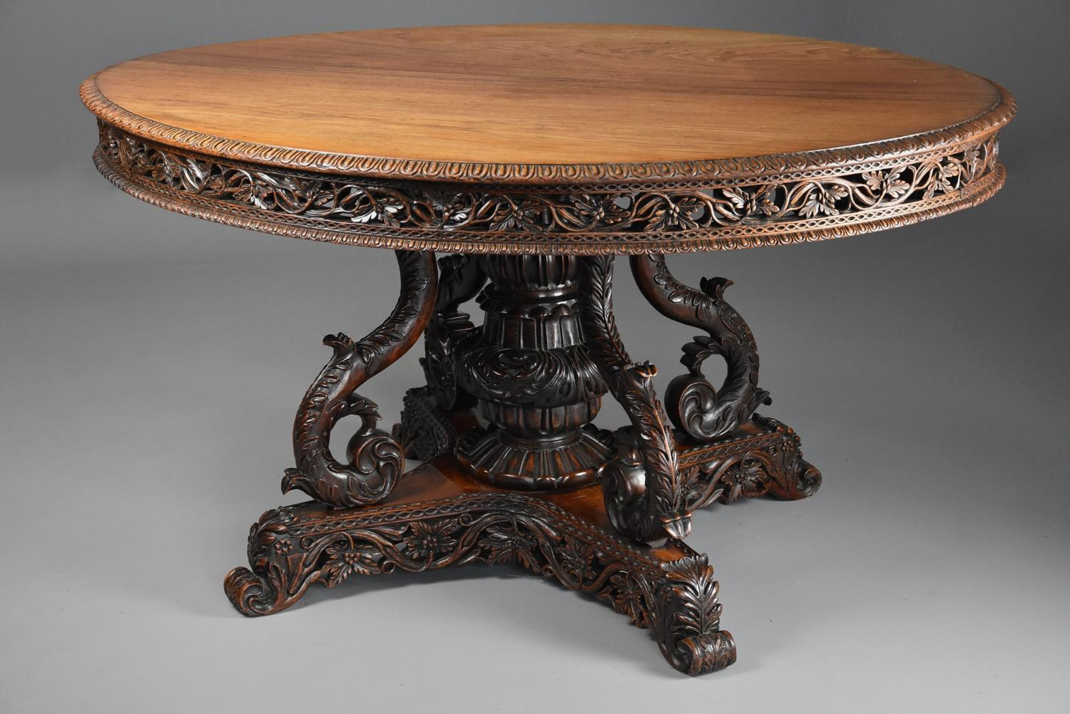 19thc Anglo Indian padouk oval centre table with superb faded patina