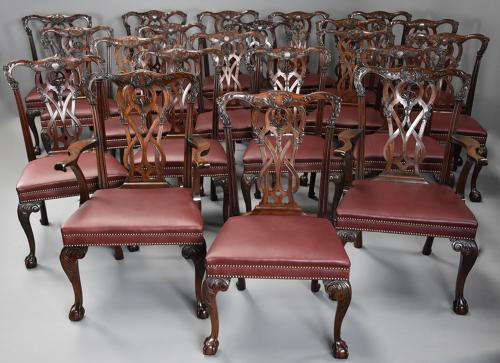 Superb set of twenty one Chippendale style mahogany dining chairs