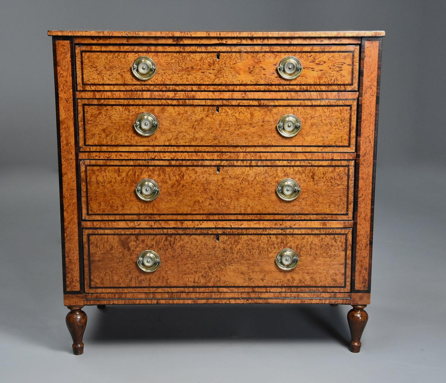 Rare early 19th century Regency Karelian birch chest of drawers