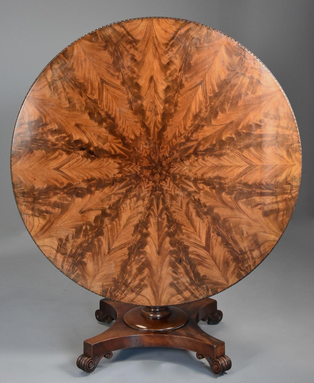 Superb William IVth mahogany tilt top breakfast table of fine patina