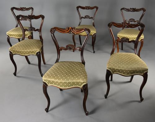 Fine quality 19thc set of six rosewood dining chairs