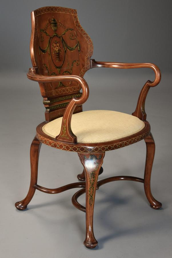 Edwardian satinwood & painted armchair in the Georgian style