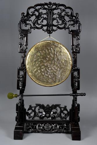 Large fine quality highly decorative 19thc Chinese hardwood gong