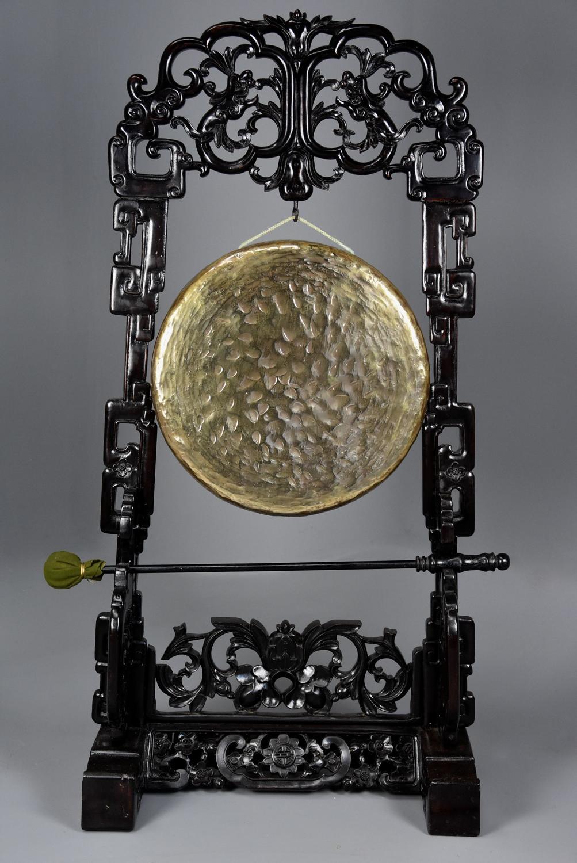 Large fine quality highly decorative 19thc Chinese hardwood gong