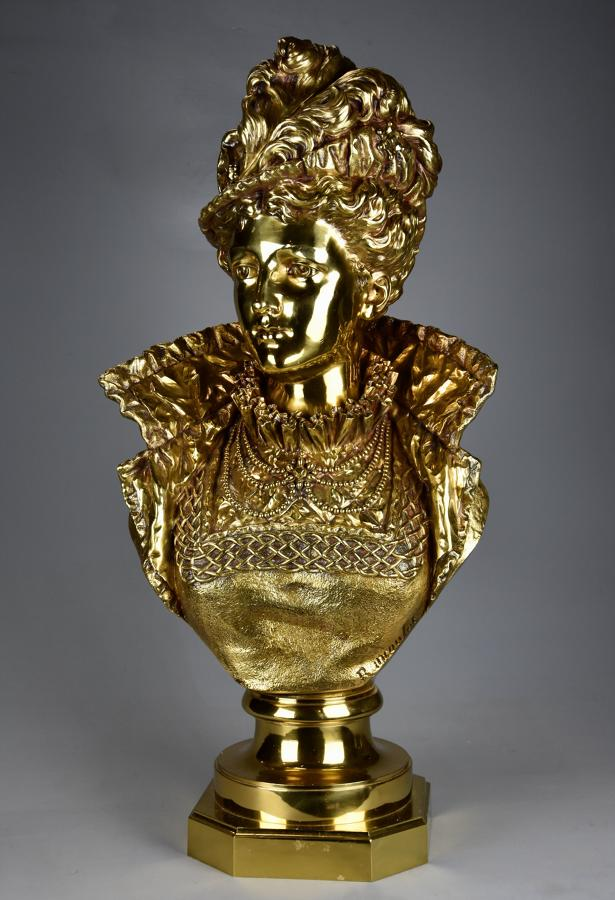 19thc French gilt bronze bust of a Victorian lady by Rancoulet