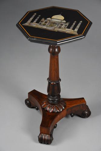 19thc rosewood table with octagonal top with inlaid Taj Mahal