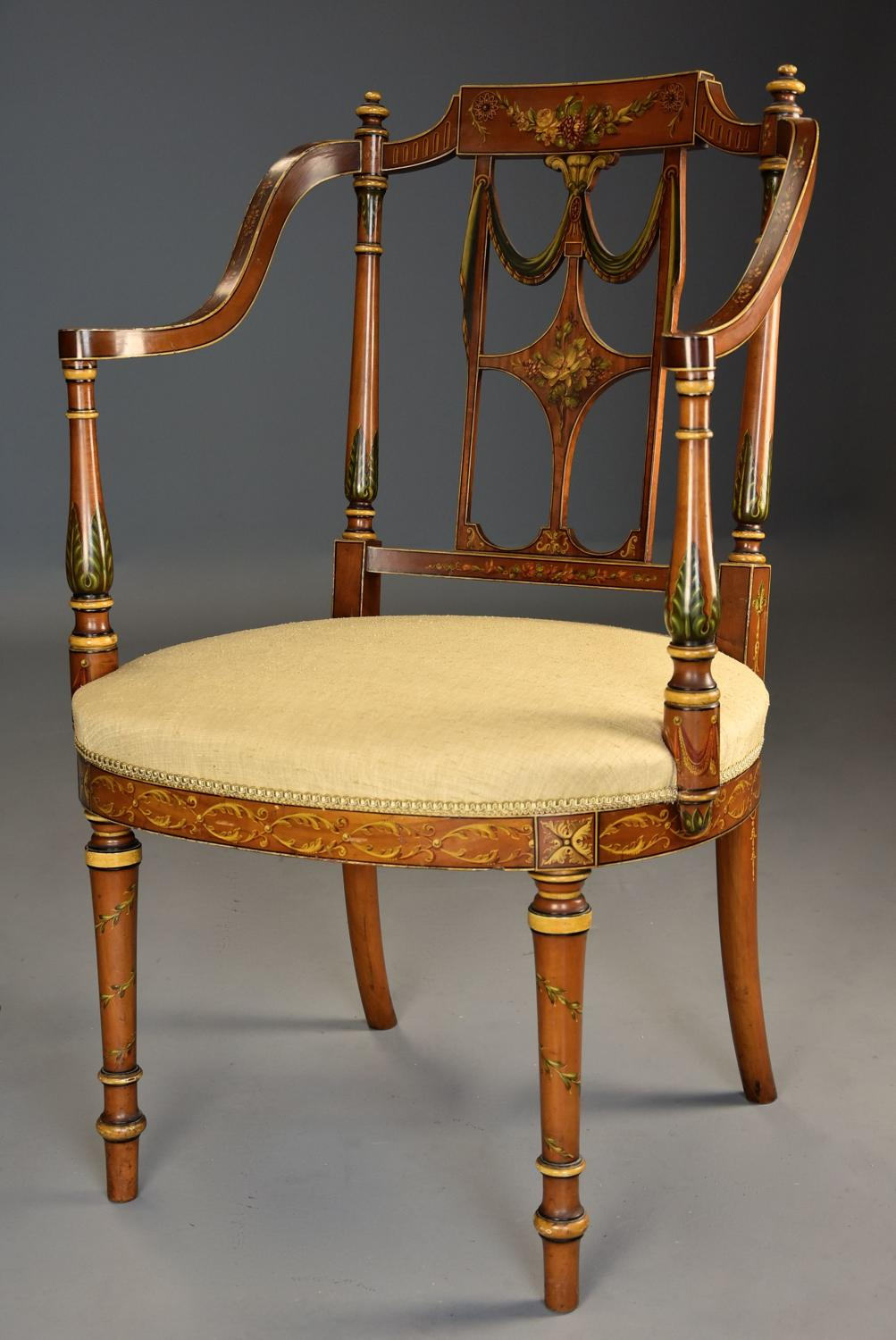 Fine quality early 20thc Sheraton revival satinwood & painted armchair