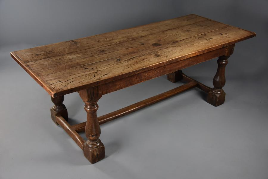 19th century Arts & Crafts oak refectory table with fine faded patina