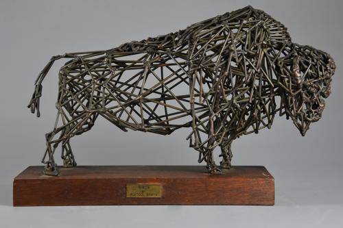 Bronze wirework sculpture of a 'Bison' by Daniel Rintoul Booth