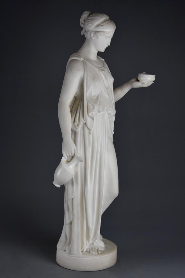 Fine quality 19thc marble figure of Hebe after Bertel Thorvaldsen