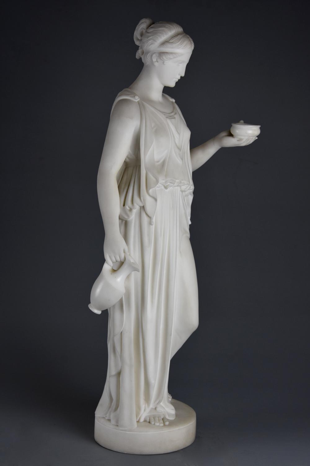 Fine quality 19thc marble figure of Hebe after Bertel Thorvaldsen