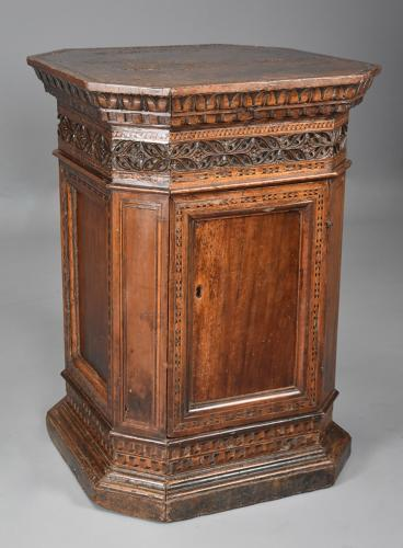 Extremely rare Tuscan 15thc Renaissance walnut sacristy cupboard
