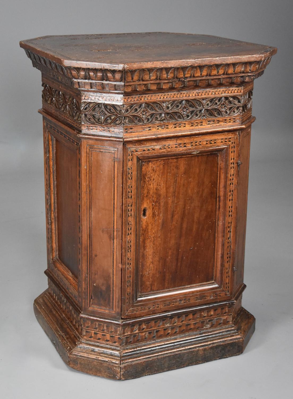 Extremely rare Tuscan 15thc Renaissance walnut sacristy cupboard