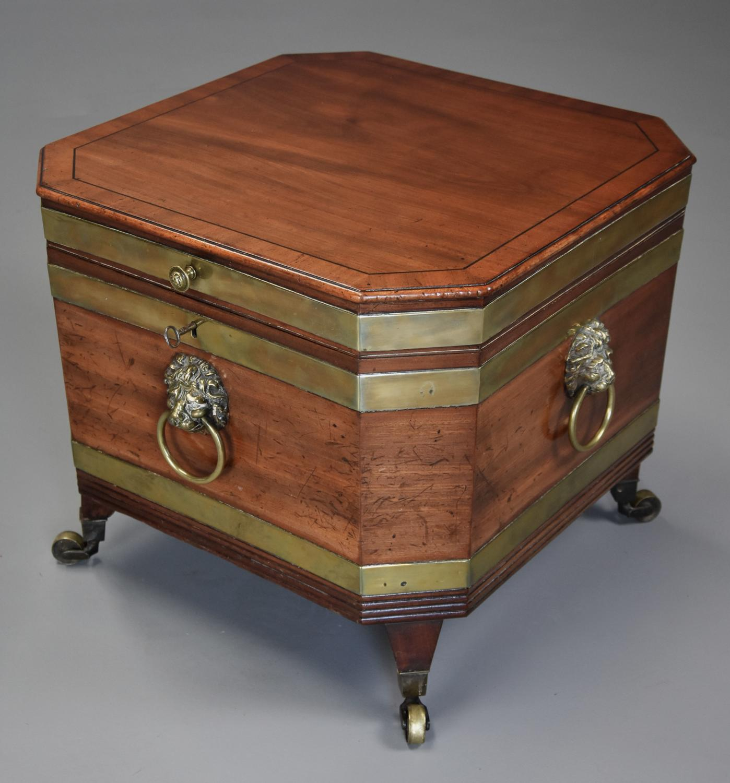 Regency mahogany brass bound cellarette of fine patina