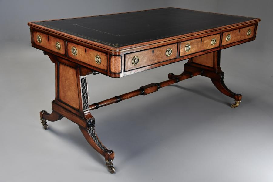 Fine quality Regency style six drawer oak writing table
