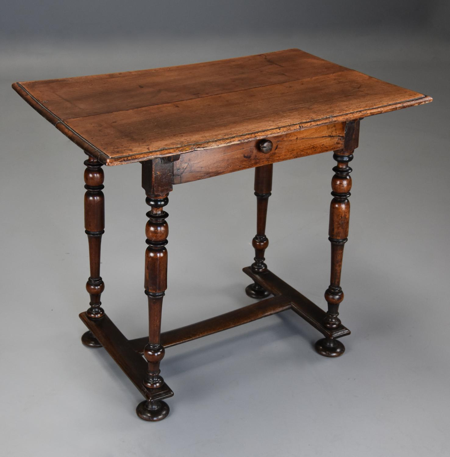17thc Continental walnut side table with drawer of superb patina