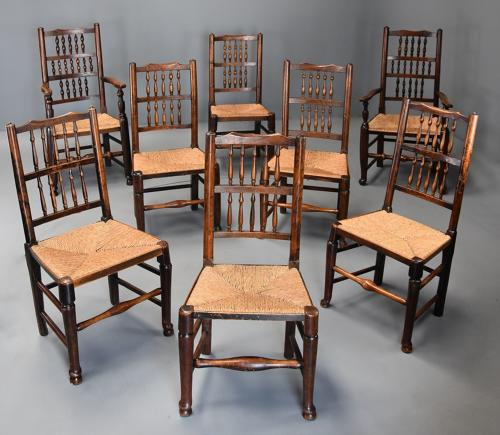 Matched set of eight 19thc ash spindle back chairs of superb patina