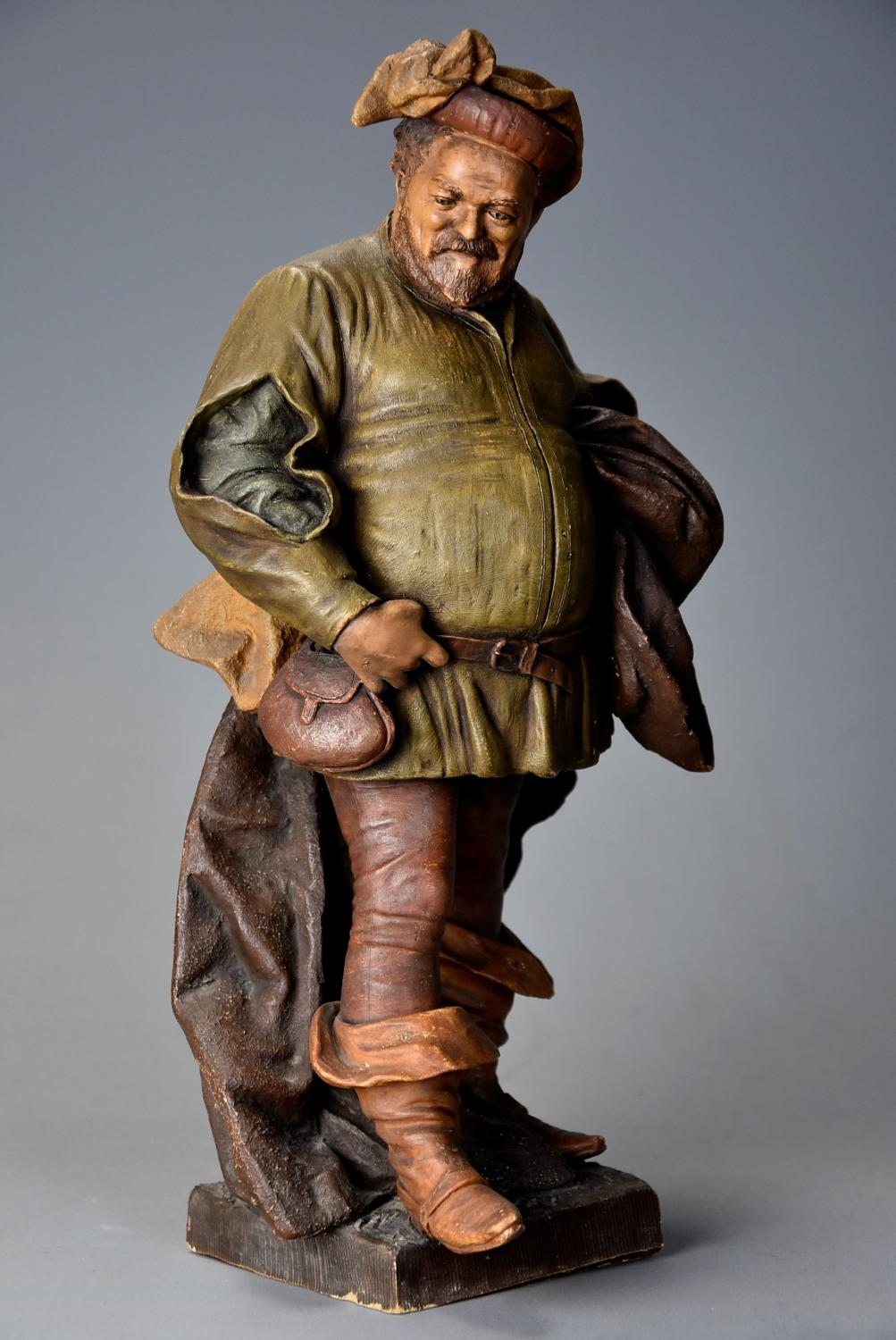 19thc terracotta figure of 'Falstaff' by Friedrich Goldscheider