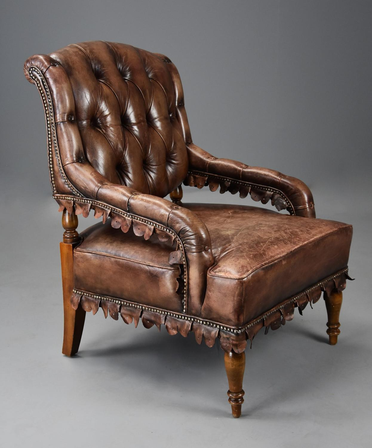 Highly decorative 1930's French brown leather open armchair