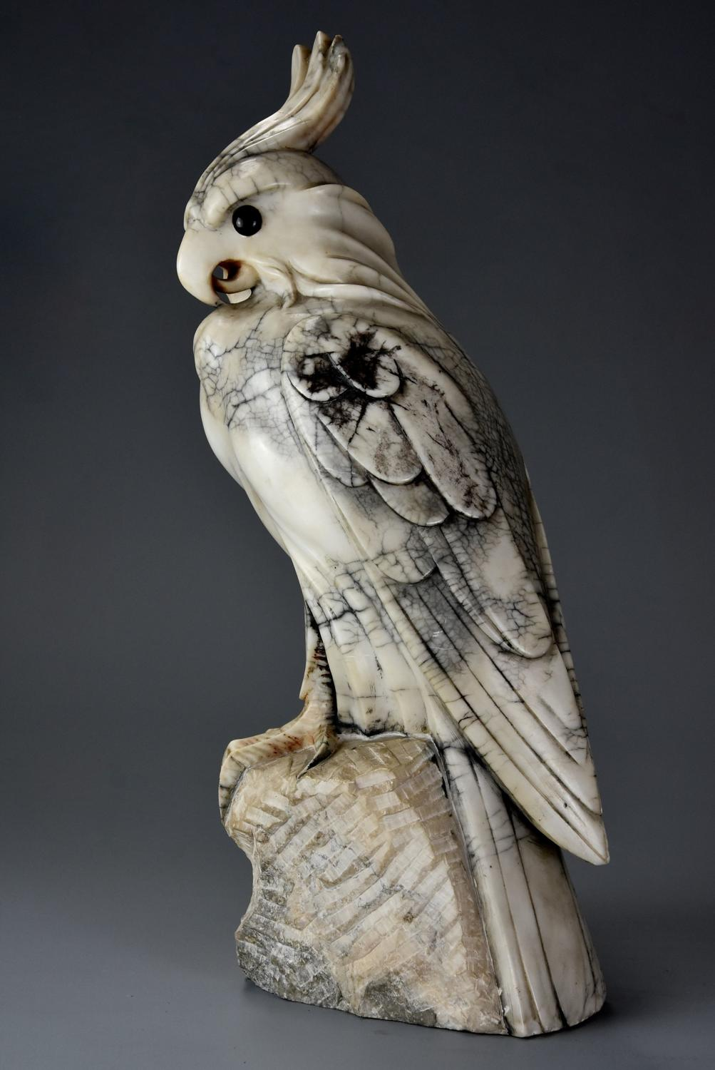 French Art Deco carved marble sculpture of a crested cockatoo