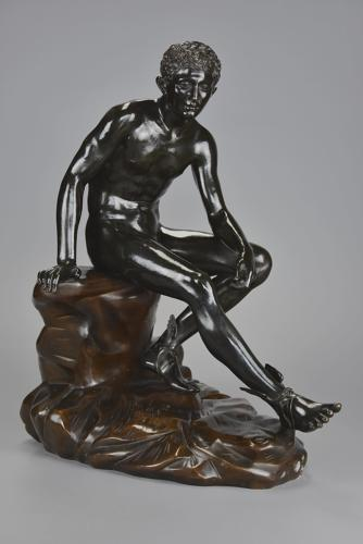 Large 19thc Grand Tour Italian bronze of 'Seated Hermes'