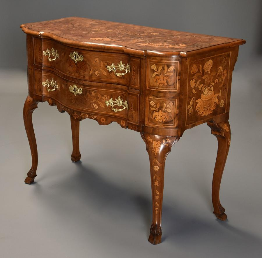 Fine quality 19thc floral marquetry walnut lowboy of serpentine form