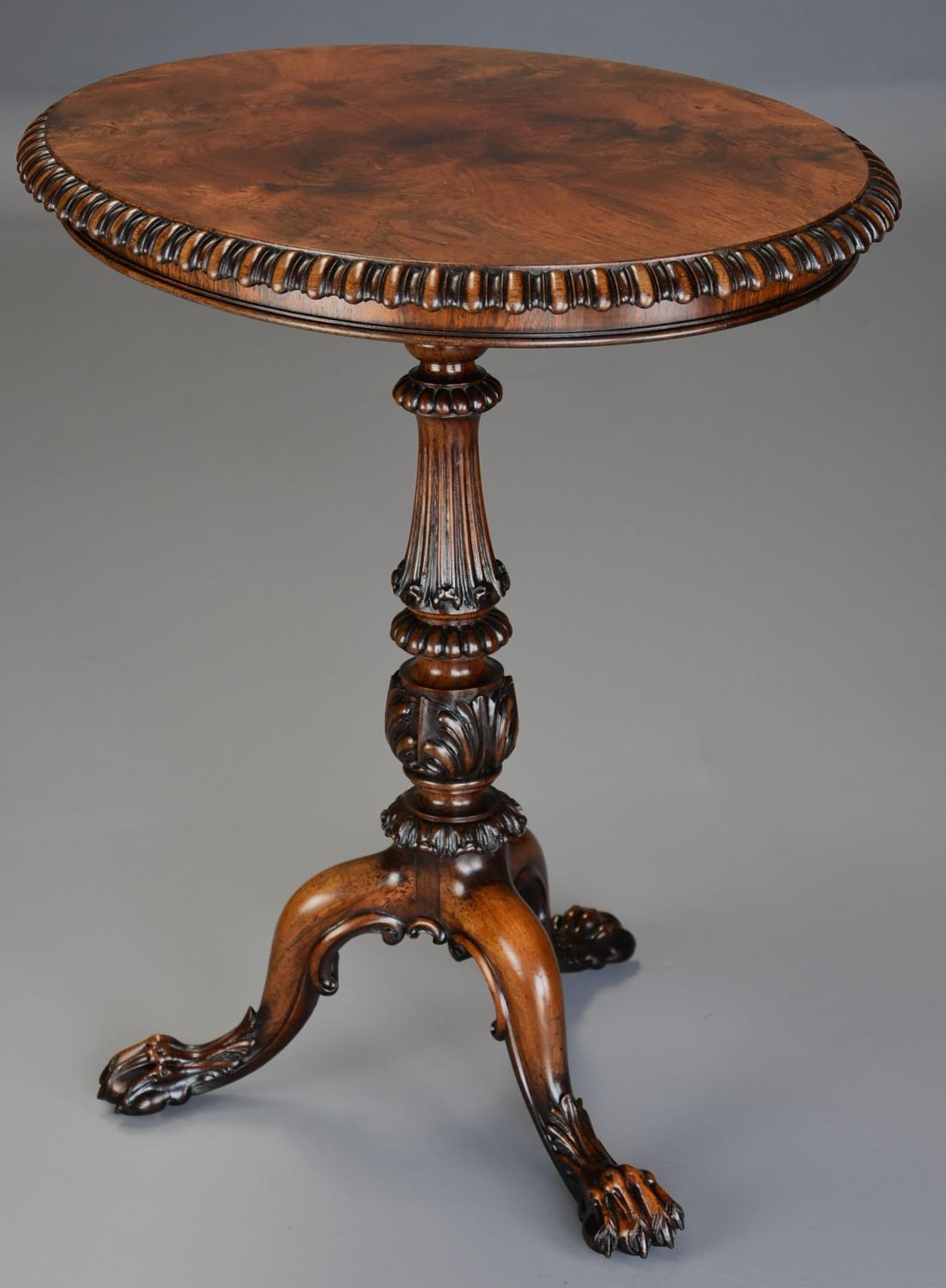 Superb example of a mid 19th century rosewood oval occasional table