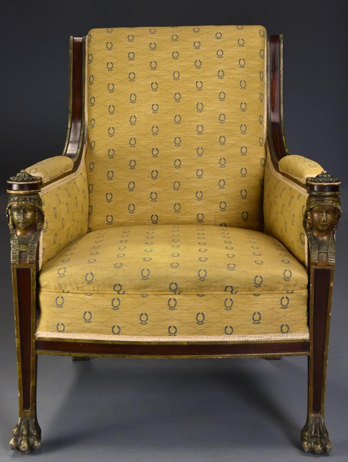 Highly decorative early 20thc French Empire style mahogany armchair