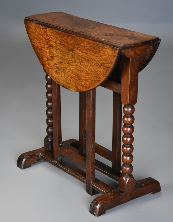 Extremely rare 17thc oak joined gateleg table of small proportions