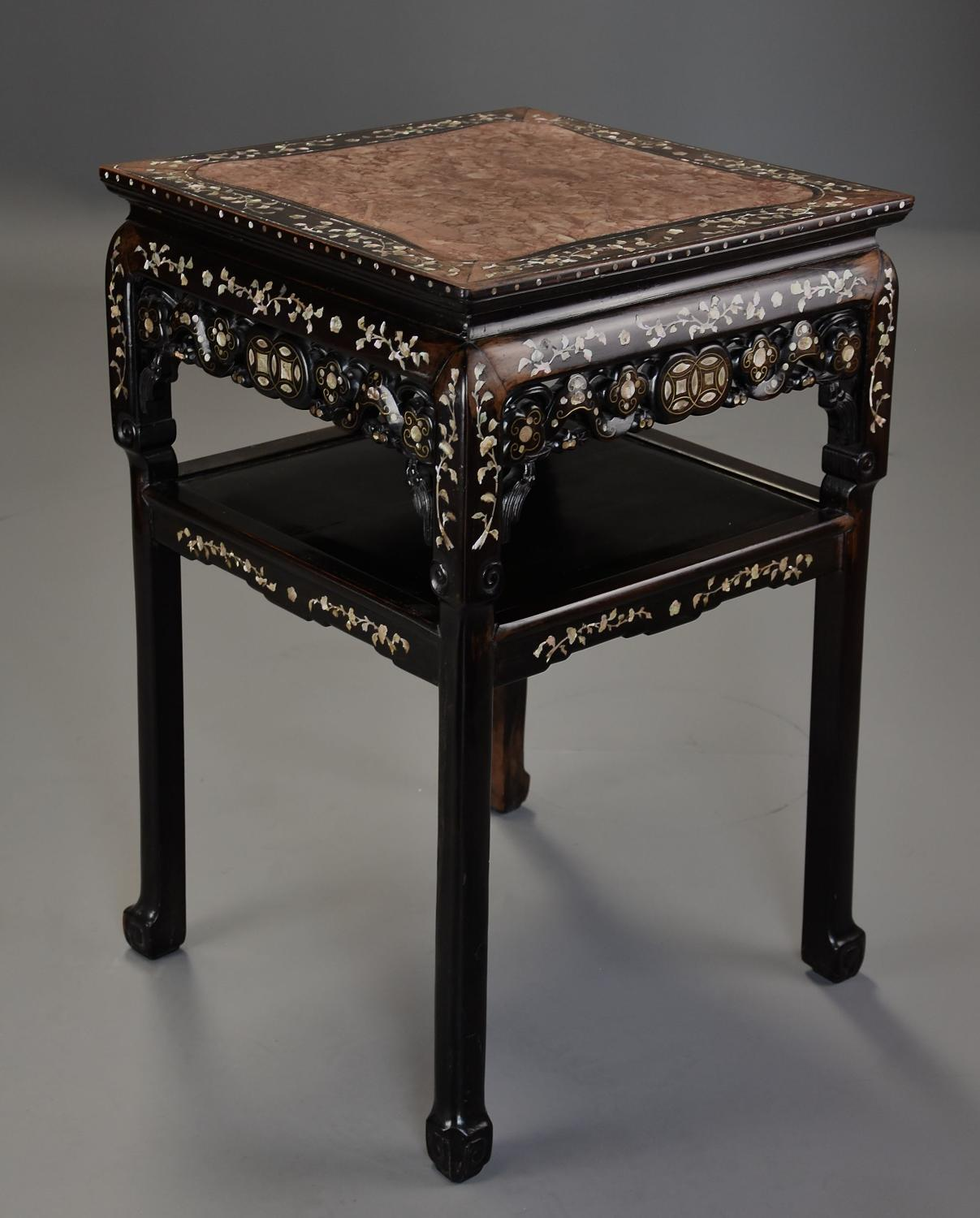 Highly decorative 19thc Chinese hardwood & mother of pearl pot stand