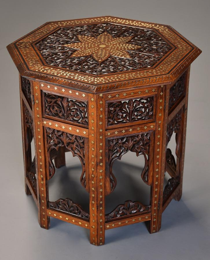 Superb quality 19thc Anglo Indian carved & inlaid octagonal table