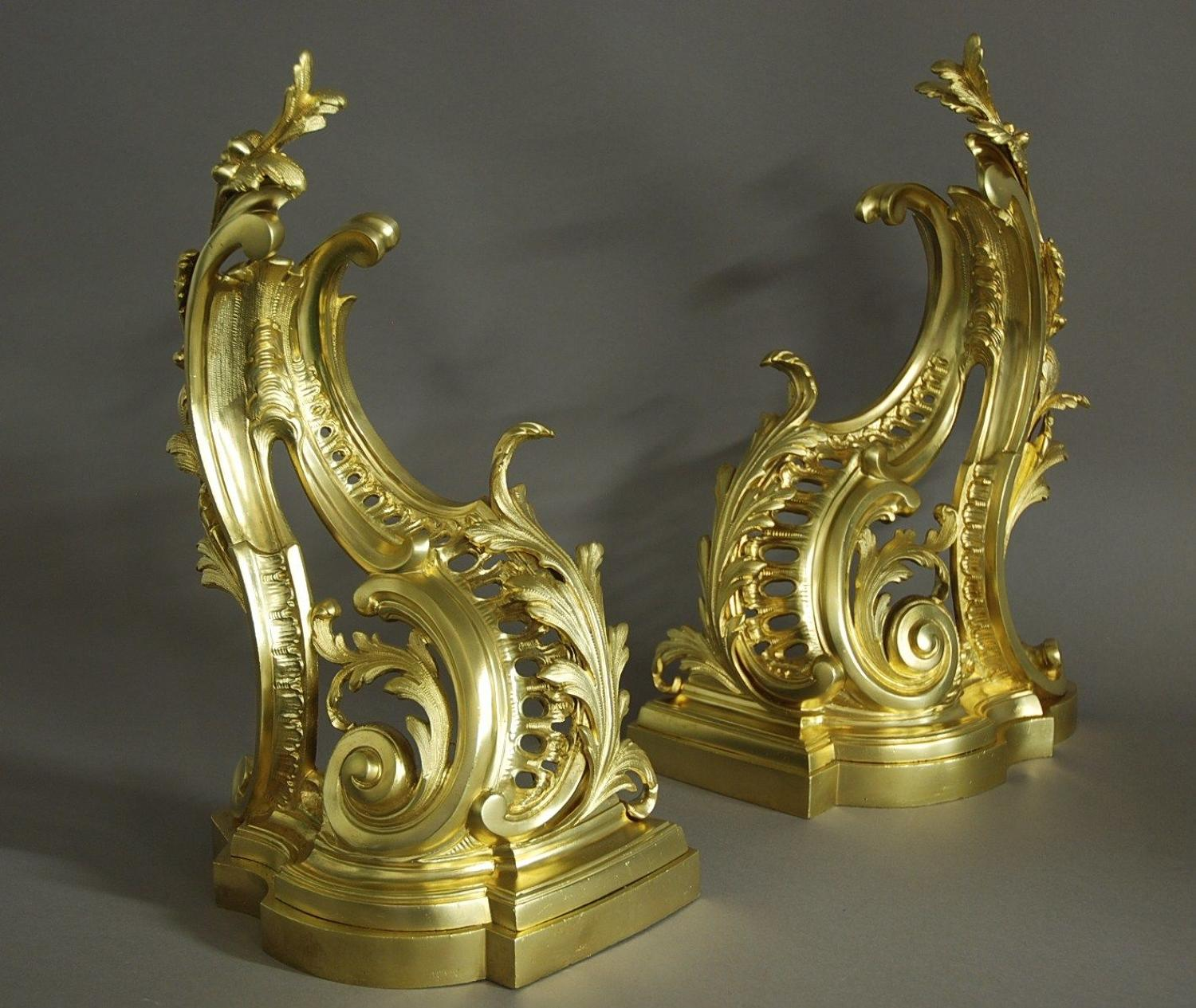 Fine quality pair of French Rococo style ormolu chenets (or fire dogs)