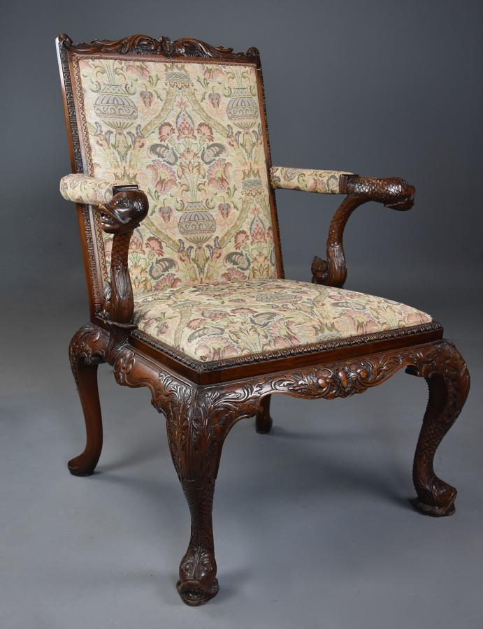 Superb George II style mahogany Gainsborough open armchair