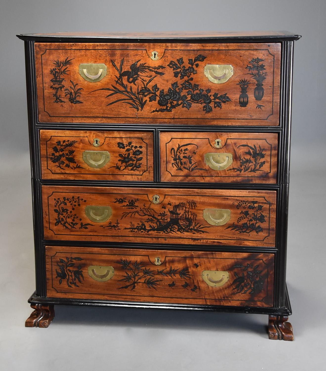 Rare 19thc Anglo Chinese camphor wood Campaign secretaire chest