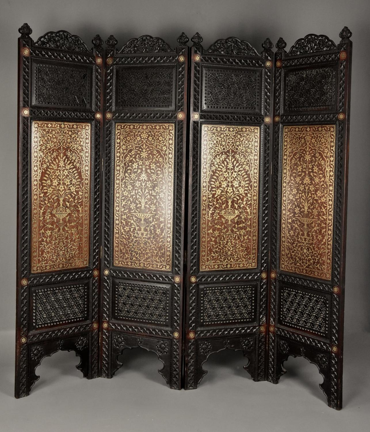 Fine 19thc Anglo Indian carved padouk & brass inlaid four fold screen