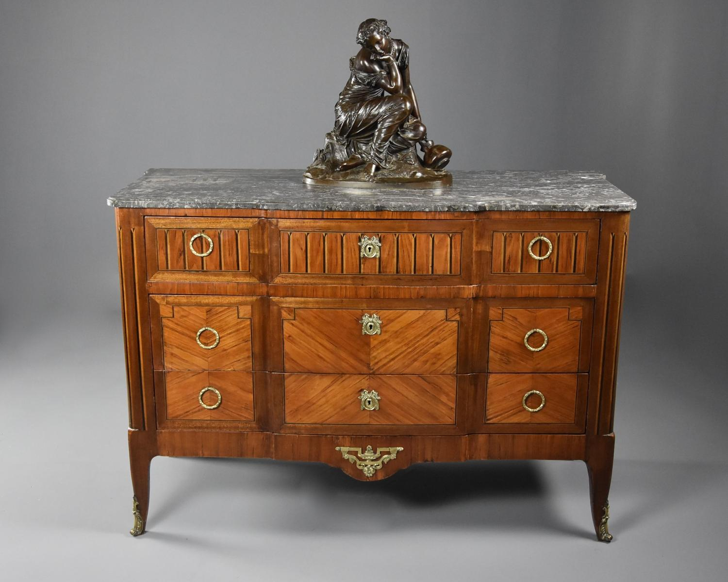 Late 19th century French Louis XVI style tulipwood breakfront commode
