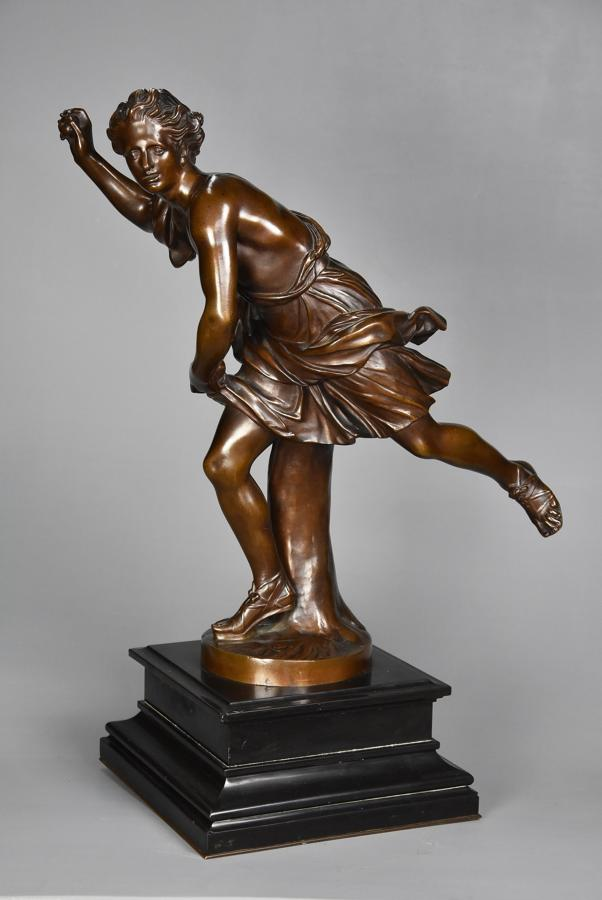 Large 19thc bronze figure of 'Hippomenes' signed 'F.Barbedienne'