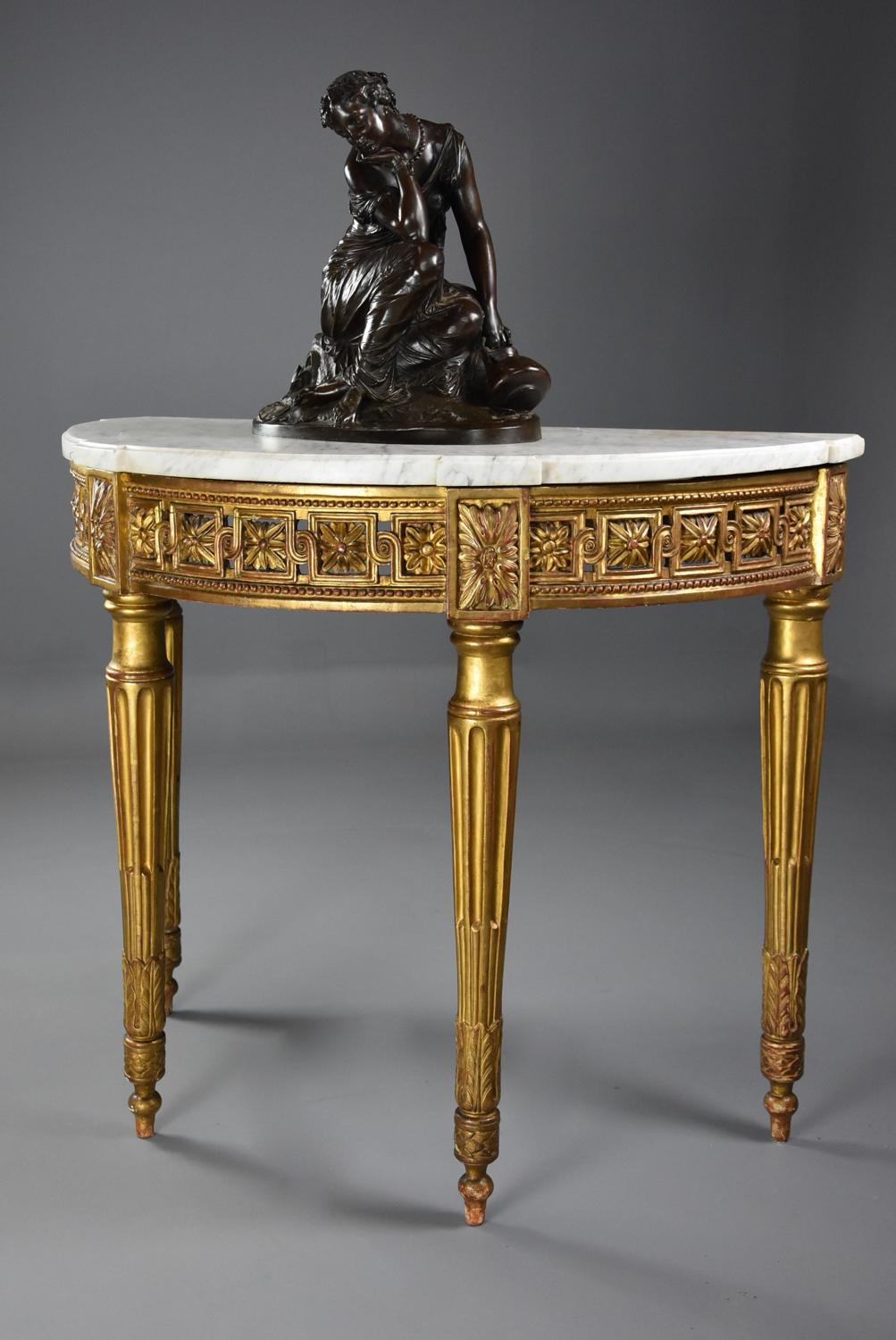 Highly decorative 19th century French demi-lune gilt console table