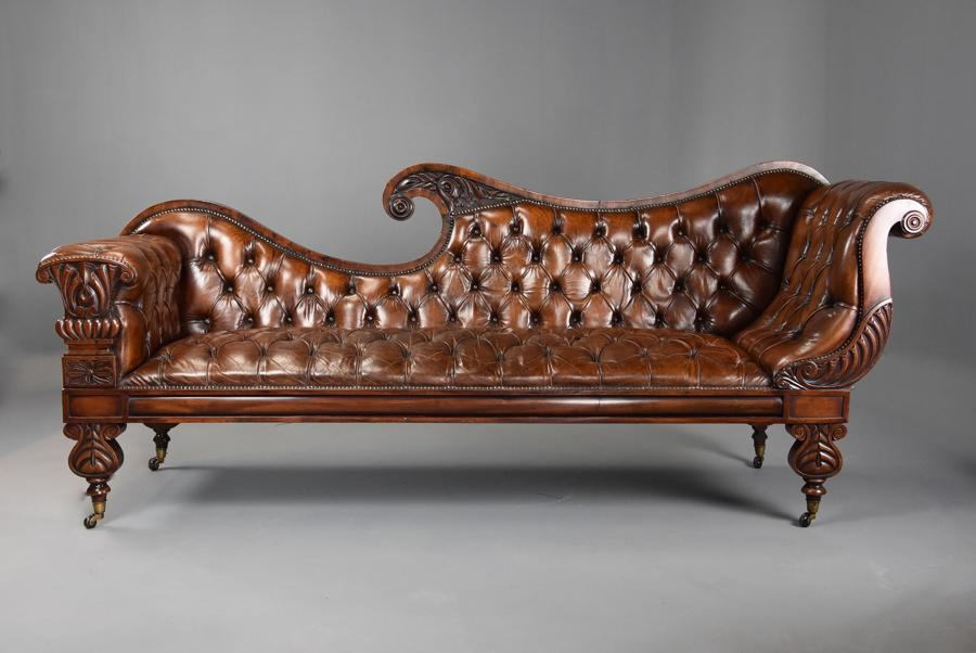 Superb late Regency/William IVth mahogany deep buttoned leather sofa